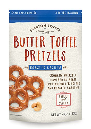 Everton Toffee Butter Toffee Pretzels, Roasted Cashew Flavor (4 oz. bag, 3-pack), Gourmet Artisan Toffee Covered Pretzels, Sweet and Salty Mini Pretzel Snacks, Small Batch Crafted (Pretzel Toffee)