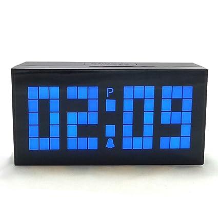 Reloj Despertador Pesados durmientes Dormitorio Relojes de Escritorio LED Pantalla Digital Grande Temperatura Snooze