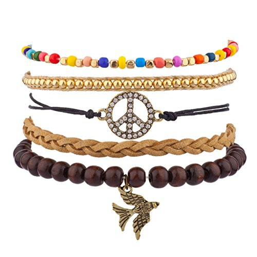 [Lux Accessories Pave Peace Sign Love Dove Bird Beaded Woen Rainbow Arm Candy Bracelet Set] (Arm Candy Costume)