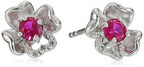 Sterling Silver Created-Ruby and Diamond Flower Stud Earrings (Diamond Flower Cut Rhodium)