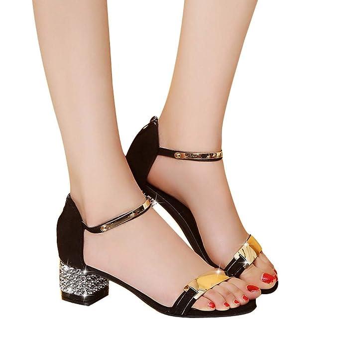 De Mujer Ancho Boda Fiesta Sandalias Vestir Zapatos Tacón Kc1JlFT