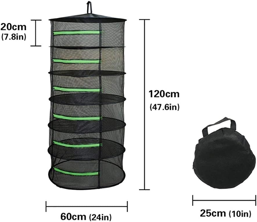 2ft Plant Hanging Mesh Dry Net with Green Zippers and Bonus Hook Bysameyee 6-Layer Herb Drying Rack