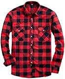 Alimens & Gentle Men's Button Down Regular Fit Long Sleeve Plaid Flannel Casual Shirts Color: Red, Size: XXX-Large