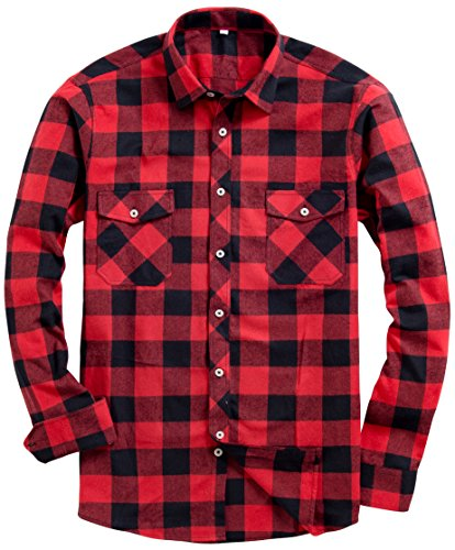 Alimens & Gentle Mens Button Down Regular Fit Long Sleeve Plaid Flannel Casual Shirts Color: Red, Size: Medium