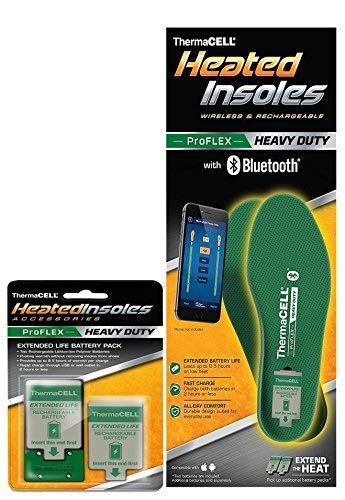 Thermacell Proflex Heavy Duty Heated Shoe Insoles with Bluetooth Compatibility, Large (Heavy Duty Shoes)
