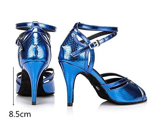 da Sandali ballo a EU38 Donne Danza latino BLUE75CMHEEL Taogo Da EU37 40 XIE 35 Pompe Scarpe FxE8qwFC