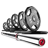 XMark Black Diamond Olympic Barbell 205 lb Set Weight Plates with The Crowbar 7' Olympic Bar