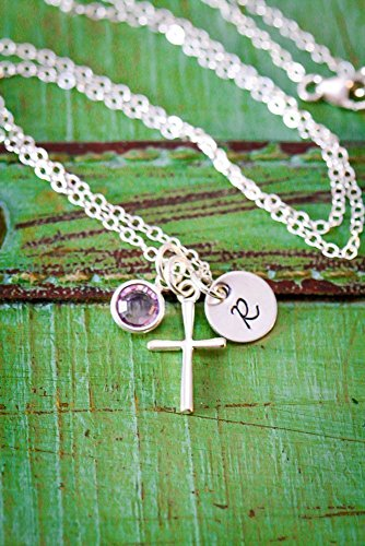 Sterling Silver Cross Necklace - ROI - Christening Gift - First Communion Baptism - Personalized Initial Birthstone - Handmade Necklace - 3/8 Inch 9MM Disc - Fast 1 Day Shipping