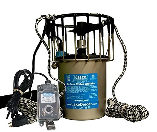 1HP Kasco Marine Lake & Pond De-icer - 120v Deicer with C-10 Timer Thermostat Controller (25 ft power cord)