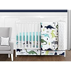 Navy Blue and Green Modern Dinosaur Baby Boys or Girls 11 Piece Crib Bedding Set without Bumper