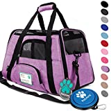 PetAmi Premium Airline Approved Soft-Sided Pet Travel Carrier | Ventilated - Comfortable Design with Safety Features | Ideal for Small to Medium Sized Cats - Dogs - and Pets (Large - Heather Purple)