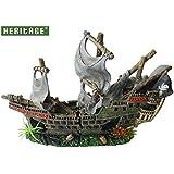 HERITAGE WS027M Relitto di una nave pirata per acquario, barca ornamentale, di grandi dimensioni, dipinta a mano, 42cm