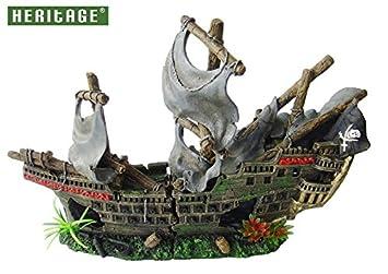Heritage ws027 m tanque de peces de acuario grande Barco Pirata Wreck Ornament pintada a mano 42 cm: Amazon.es: Productos para mascotas