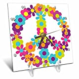 3dRose Peace Sign Made up of Blue, Pink, Purple, and Green Flowers - Desk Clock, 6 by 6-inch (dc_124615_1)
