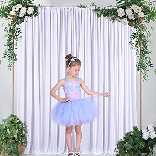 Pack of 2 Polyester White Backdrop Curtain for Wedding with Golden Curtain Tiebacks, 5ft x 10ft
