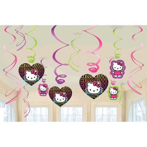 amscan Hello Kitty 'Neon Tween' Swirl Decorations (12pc) -