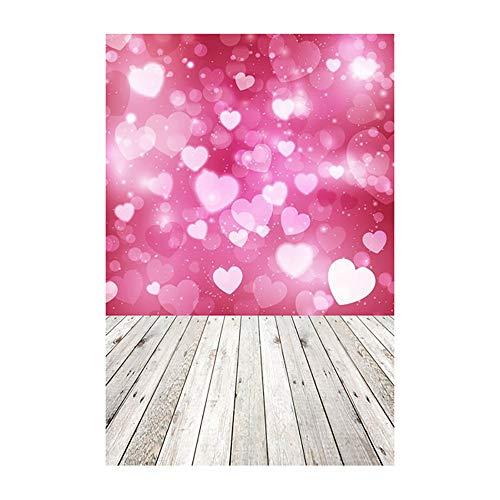 (YOcheerful Sales! Valentine's Day Love Heart Photography Backdrop Vinyl Photo Background Prop Gift)