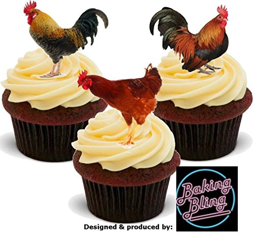 12 x Chicken Mix Cocks Cockerel Farm Animals - Fun Novelty Birthday PREMIUM STAND UP Edible Wafer Card Cake Toppers Decoration (Decorations Rooster Party)
