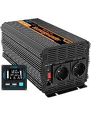 EDECOA 3000W Auto Omvormer 12V naar 230V 6000W Piek Camper Spanningsomvormer 12V 220V Gewijzigde Sinus Nieuwe Afstandsbediening met LCD Scherm en 2 USB