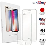 Homy Compatible [2-Pack] Tempered Glass Screen Protector iPhone 7 Plus / 8 Plus 5.5 inch, Made Premium High Clear Glass