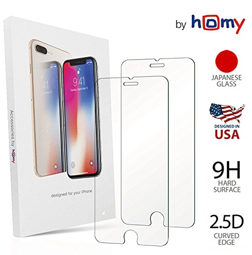 Homy Compatible [2-Pack] Tempered Glass Screen Protector iPhone 7 Plus / 8 Plus 5.5 inch, Made Premium High Clear Glass ()