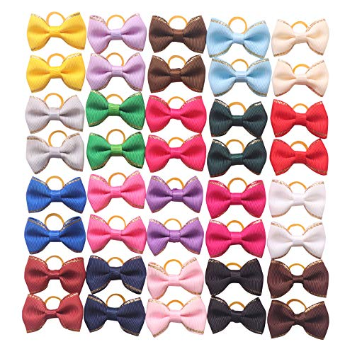 (YAKA 40pcs/(20pairs) Hot Cute Small Dog Hair Bows Topknot Small Bowknot with Rubber Bands Pet Grooming Products Pet Hair Bows Hair Accessories 20 Colors)
