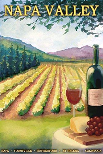 Napa Valley Decor - Napa Valley, California - Wine Country (9x12 Art Print, Wall Decor Travel Poster)