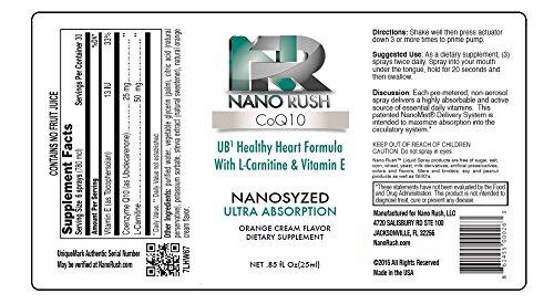 Nano Rush UB1 CoQ10 Coenzyme Q10 Healthy Heart and Cardiovascular Health with Nanotechnology 1 Oz Orange Cream Flavor Spray 30 Day Supply Discount