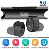 True Wireless Earbuds Premium Aduar Bluetooth V5.0 Waterproof Headphone Portable Mini Noise Cancelling In Ear Earphone 35H Play Time with Charging Box Built in Microphone for iPhone iPad Android-Black