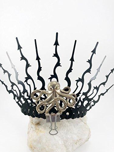 Evil Queen Crown Ursula Tiara Octopus Tiara Steampunk Clock Hand TIARA Crown, Elven Fairy Costume Tiara, Black Gothic (Evil Fairies Costumes)