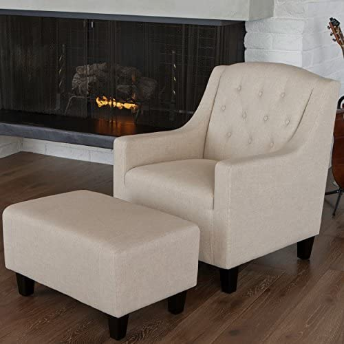 Christopher Knight Home Empierre Beige Linen Club Chair Footstool Set
