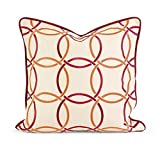 IMAX 42162 IK Catina Orange Red Embroidered Linen Pillow with Down Fill