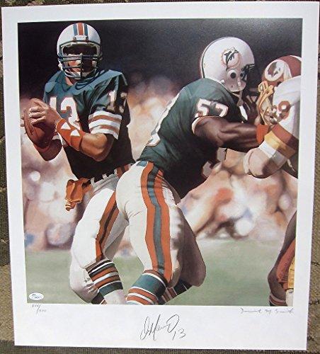 Dan Marino Dolphins HOF QB signed 19x22 lithograph JSA COA