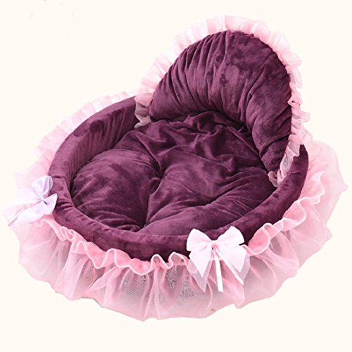 Binmer(TM) Pet Dog Puppy Princess Bows Lace Heart Elegant Lovely Bed Doghouse Pet Warm Bed (Purple) For Sale