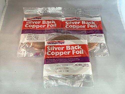 (3 rolls - 1/4 Inch Venture Silver Backed Copper Foil)