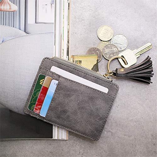 9066e86642c5 AnnabelZ Card Case Holder Slim Front Pocket Wallet Leather Coin Change  Purse Keychain for Women(Grey)