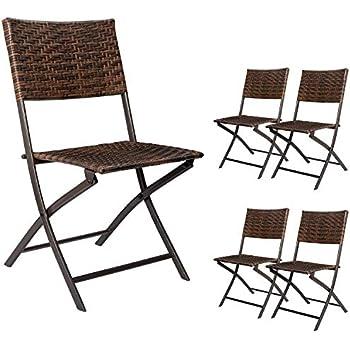 Amazon Com Devoko Rattan Patio Dining Chair 4 Pieces