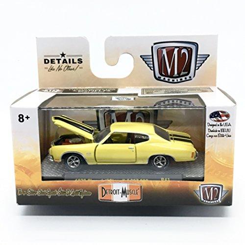 M2 Machines 1970 Chevrolet Chevelle SS 396 (Sunflower Yellow w/Black Stripes) - Detroit Muscle Release 41 2018 Castline Premium Edition 1:64 Scale Die-Cast Vehicle & Display Case Set (R41 17-63)