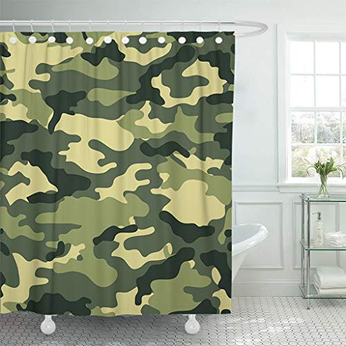 """Emvency Fabric Shower Curtain with Hooks Colorful Camouflage Camouflaged Green Army Dark Dizzy Effects Fabrics Life Lifestyle Extra Long 72""""X78"""" Decorative Bathroom Odorless Eco Friendly"""