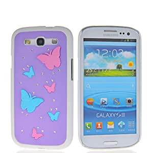 HKCFCASE Butterfly Hard Rubberized Bling Diamante Rubber Coating Shell Case Cover For Samsung Galaxy S3 I9300 Purple