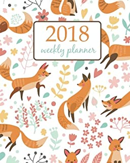 Weekly /& Monthly Planner 2018 floral design Calendar Schedule Organizer Appointment Journal Notebook and Action day cute elephant and flower