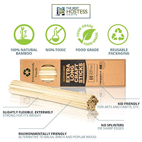 Bamboo Shop 2400 Extra Long Wooden Craft Sticks 15.5 Inches x 3/8 Inch. Food Grade. Natural Unfinished Popsicle Like Wood Strips for Crafts, Treats, Table Centerpieces, Coffee Stirrers by Bamboo Shop (Image #3)