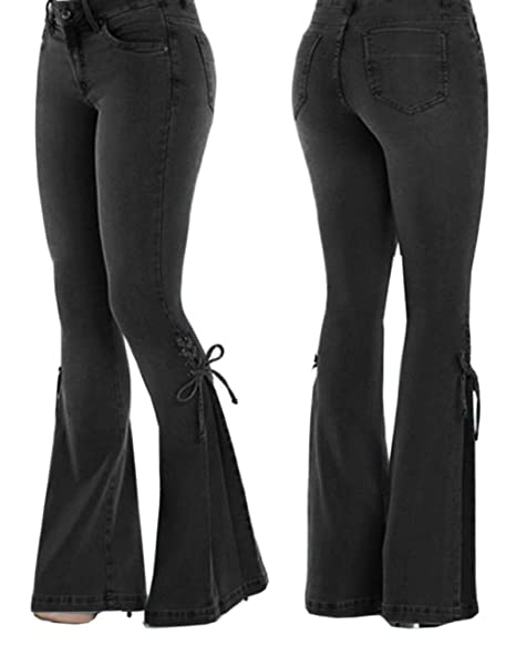 on sale online shades of purchase genuine UZZE Women's Bell-Bottom Jeans Ladies High Waist Cute Bow Slim Fit Wide Leg  Flare Pants Trousers