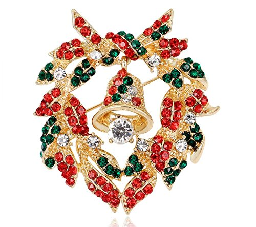 Fashion Style for Home Christmas Brooch for Women Elegant Colourful Rhinestones Christmas Bells Wreath Snowman Brooch Pin Corsage for Xmas