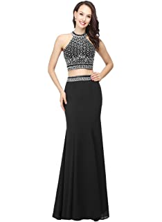 d5533867482 Dressytailor Women s Two Piece Halter Long Chiffon Prom Dresses with Stones