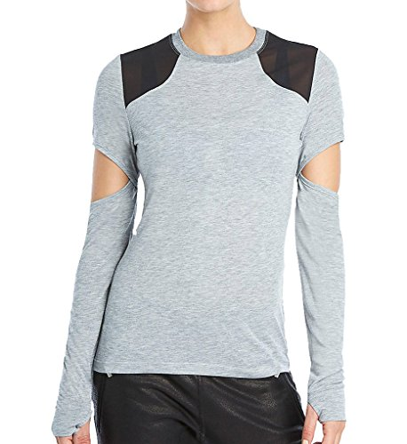 2(X)IST 2xist Cutout Long Sleeve Tee with Mesh Inserts (WA1015) XL/Light Grey Heather