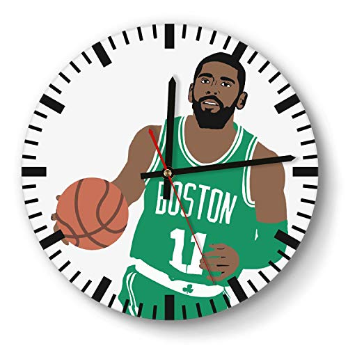 Design Basketball Game Theme Wooden Wall Clock 11 Inch Diameter Acrylic Non Ticking Silent Sweep Movement Simple Battery Operated Easy to Hang Home Office School Indoor Kitchen Livingroom