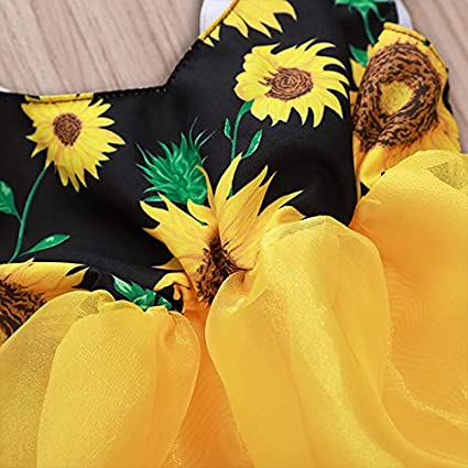 Carolilly Robe B/éb/é Fille Et/é sans Manches Col V Barboteuse Infantile Imprim/é Floral de Tournesol avec Jupe en Tulle