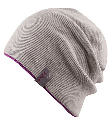 Chillouts BROOKLYN Reversible Soft Stretch Slouchy Cotton Beanie Light Grey / Pink ()