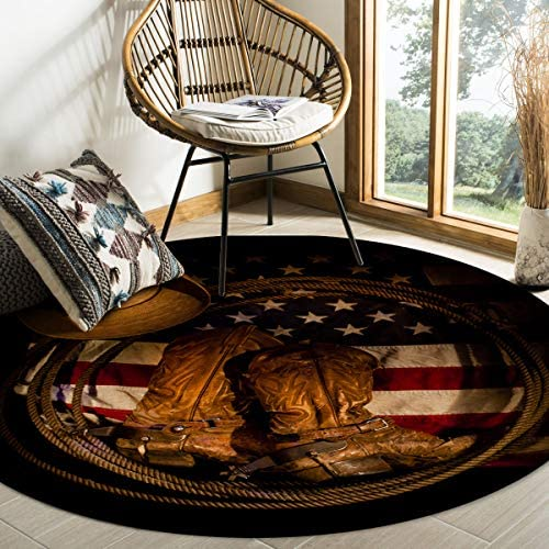 Round Area Rugs USA Western Cowboy Hat